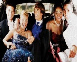 Image of kids having fun in a CT Prom limousine