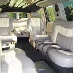 interior of 18 passengers cadillac escalade super stretch limo in fairfield county photo