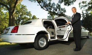 Image of Limousines of Connecticut white lincoln wedding limousine