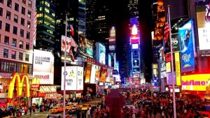 Image of Times Square with a Manhattan Limo