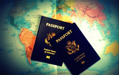 Passport-on-map-image